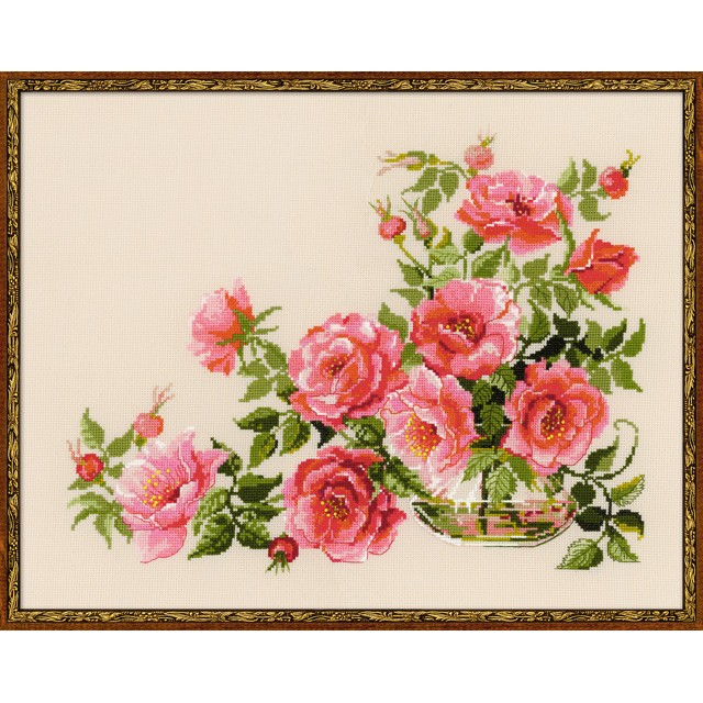 Grafitec Impreso Tapiz//Kit de bordado Rosas en Jarrón Amarillo