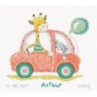 En voiture avec girafe et ours