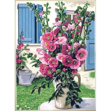 Le bouquet de rose trémières